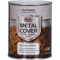 SCA Metal Cover Rust Paint - Enamel, Gloss White, 1 Litre, , scaau_hi-res