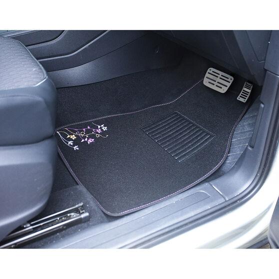 SCA Blossom Floor Mats - Carpet, Black / Purple / Orange, Set of 4, , scaau_hi-res