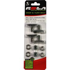 Drop & Turn Channel Bolt - M8 x 20mm, 4 Pack, , scaau_hi-res