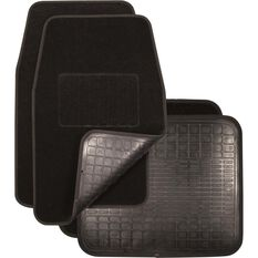 Reversible Car Floor Mats - Carpet & Rubber, Black, Set of 4, , scaau_hi-res