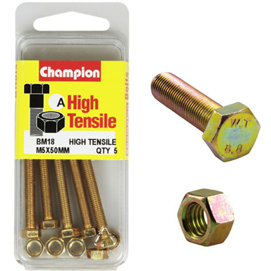 Champion High Tensile Bolts and Nuts - M5 X 50, , scaau_hi-res