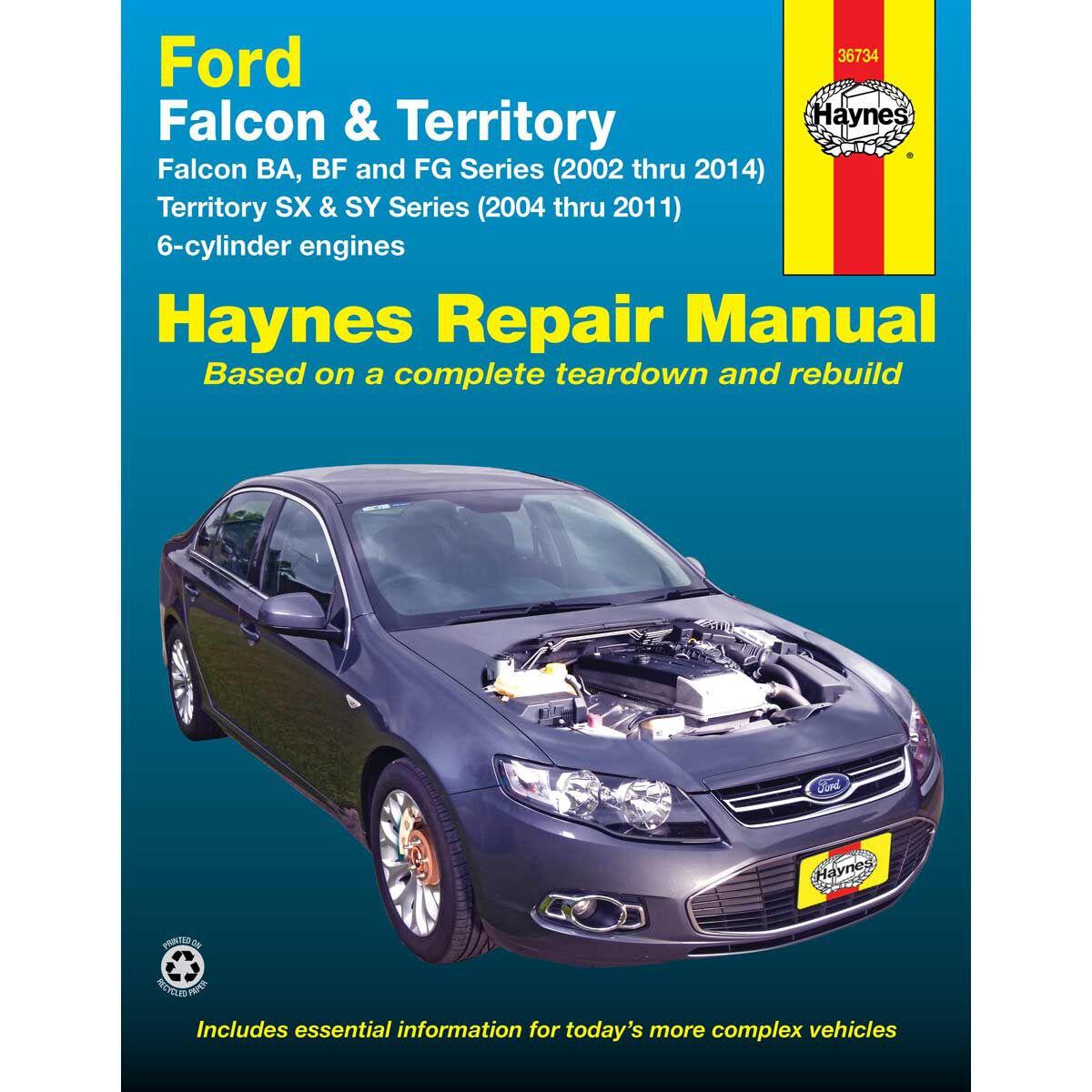 haynes car manual for ford falcon territory 2002 2014 36734 rh supercheapauto com au