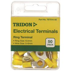 Tridon Electrical Terminals - Ring (Eye), Yellow, 8.4mm, 50 Pack, , scaau_hi-res