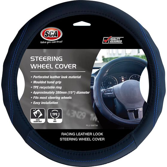 SCA Steering Wheel Cover - PU Racing, Black / Blue, 380mm diameter, , scaau_hi-res