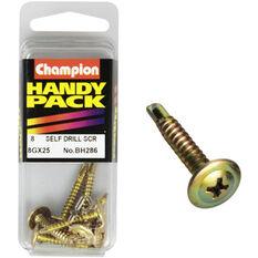Champion Self Drilling Screws - 8G X 25, BH286, Handy Pack, , scaau_hi-res