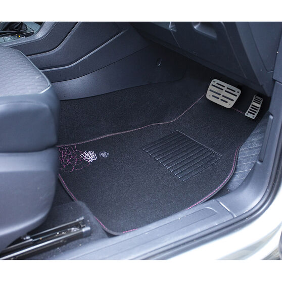 SCA Rose Floor Mats - Carpet, Black / Pink, Set of 4, , scaau_hi-res
