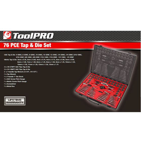 ToolPRO Tap and Die Set - Metric and Imperial, 76 Piece, , scaau_hi-res