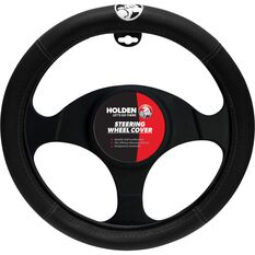 Holden Steering Wheel Cover - Leather Look, Black, 395mm diameter, , scaau_hi-res