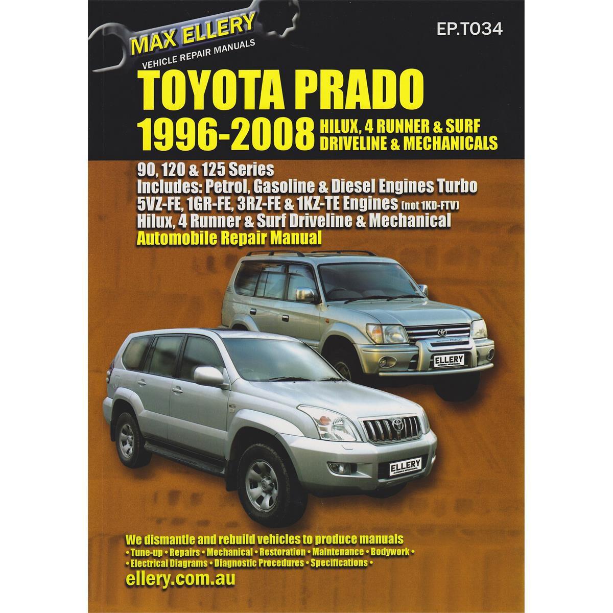 car manual for toyota prado 1996 2008 ep t034 supercheap auto rh supercheapauto com au 2008 hilux repair manual 2008 hilux repair manual