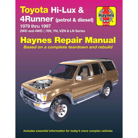 Haynes Car Manual For Toyota Hi-Lux / 4 Runner Petrol and Diesel 1979 / 1997 - 92736, , scaau_hi-res