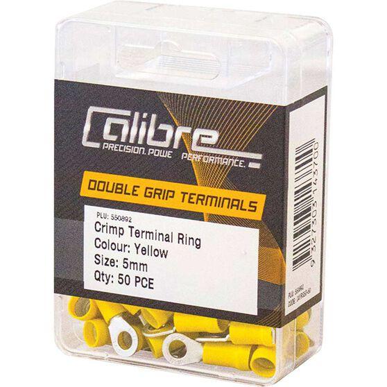 Crimp Terminal Ring Yellow 5mm 50Pk, , scaau_hi-res