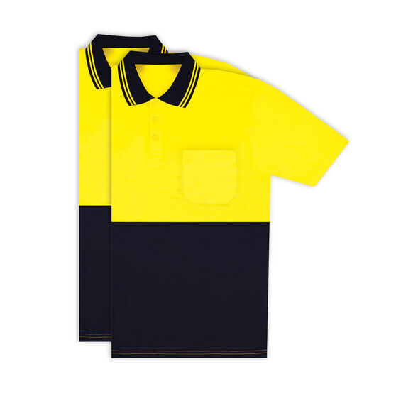 Hi Vis Short Sleeve Polo - Yellow 2 Pack M, , scaau_hi-res