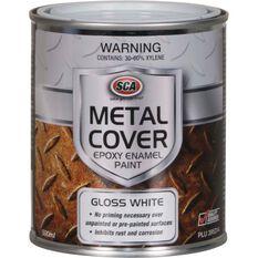 Metal Cover Rust Paint - Enamel, Gloss White, 500mL, , scaau_hi-res