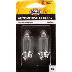 Automotive Globe - Festoon, 12V, 18W, 2 Pack, , scaau_hi-res