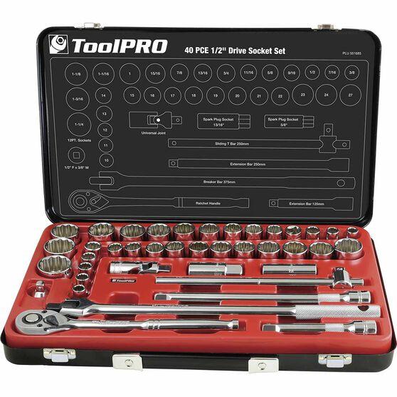"ToolPRO Socket Set 1/2"" Drive Metric/SAE 40 Piece, , scaau_hi-res"