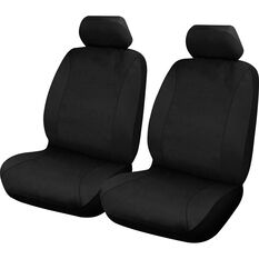 Neoprene Seat Covers - Black, Adjustable Headrests, Size 30, Front Pair, Airbag Compatible, , scaau_hi-res