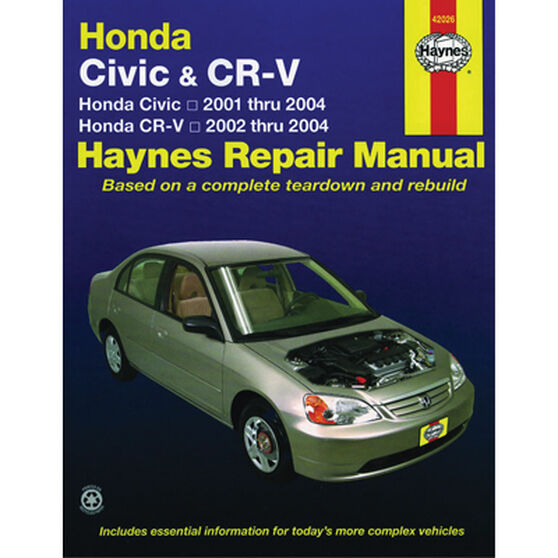 Haynes Car Manual For Honda Civic / CR-V 2001-2010 - 42026, , scaau_hi-res