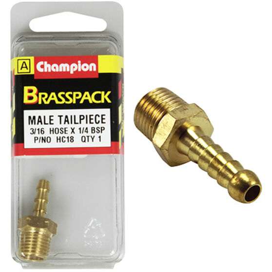 Champion Male Hose Barb - 3 / 16inch X 1 / 4inch, Brass, , scaau_hi-res