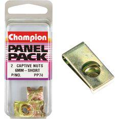 Champion Short Captive Nuts - 6mm, PP74, , scaau_hi-res