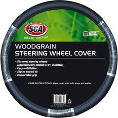 Steering Wheel Cover - Chrome & Wood Look, Charcoal, 380mm diameter, , scaau_hi-res