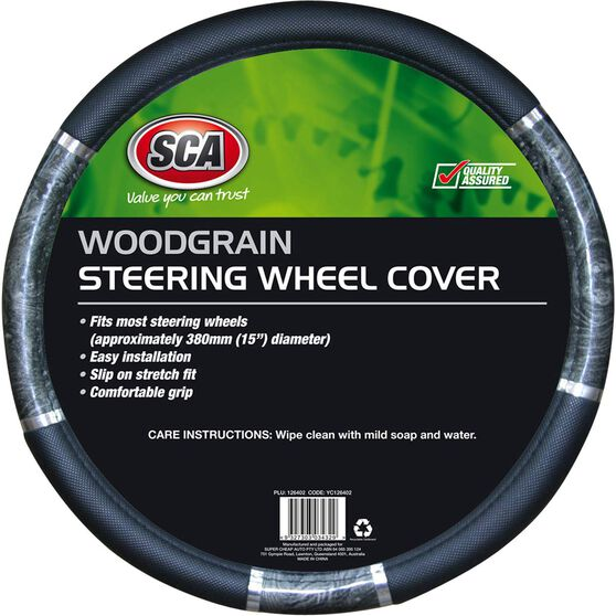 SCA Steering Wheel Cover - Chrome and Wood Look, Charcoal, 380mm diameter, , scaau_hi-res