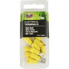 SCA Electrical Terminals - Male Blade, Yellow, 6.3mm, 11 Pack, , scaau_hi-res