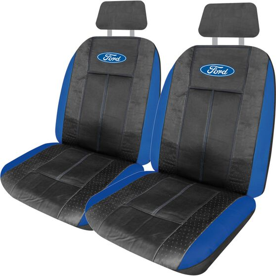 Ford Leather Look Seat Covers - Black and Blue, Adjustable Headrests, Size 30, Front Pair, Airbag Compatible, , scaau_hi-res