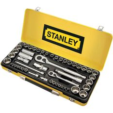 "Stanley Socket Set 1/4"" & 1/2"" Drive Metric/SAE 50 Piece, , scaau_hi-res"