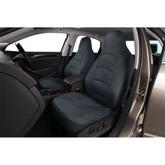 Cloud Premium Suede Seat Covers - Charcoal, Built-in Headrests, Size 60, Front Pair, Airbag Compatible, , scaau_hi-res