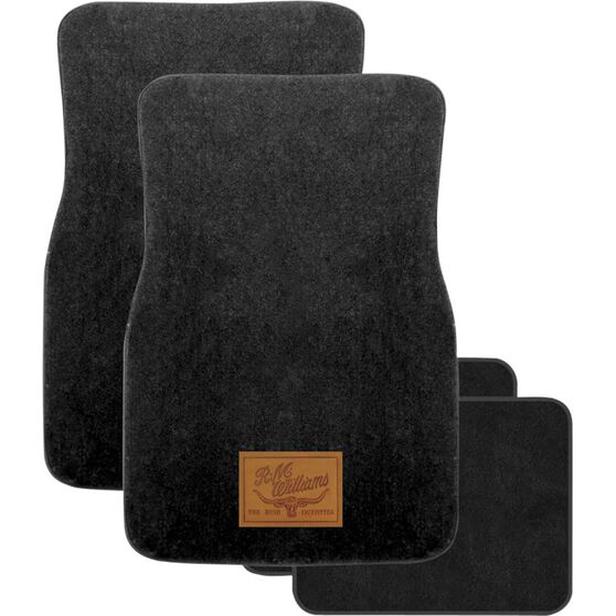 R.M.Williams Car Floor Mats Carpet Black Set of 4, , scaau_hi-res