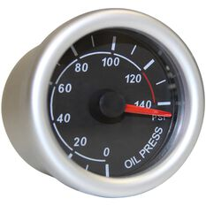 Autoline Oil Pressure Gauge - Black, 52mm, , scaau_hi-res