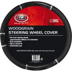 SCA Steering Wheel Cover - Chrome and Wood Look, Black, 380mm diameter, , scaau_hi-res