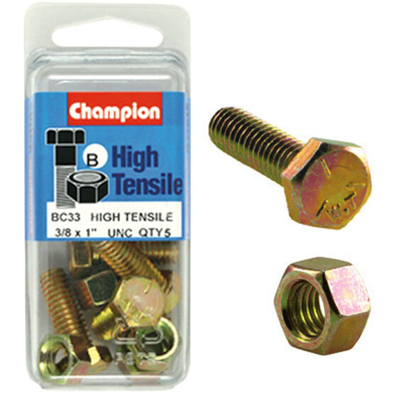 Champion High Tensile Bolts and Nuts - UNC 1inch X 3 / 8inch, , scaau_hi-res