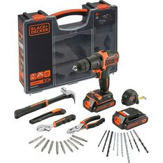 Black and Decker Hammer Drill and Hand Tools Kit - 18V, , scaau_hi-res