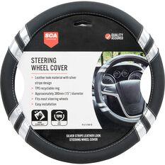SCA Steering Wheel Cover - Leather Look, Black and Silver, 380mm diameter, , scaau_hi-res