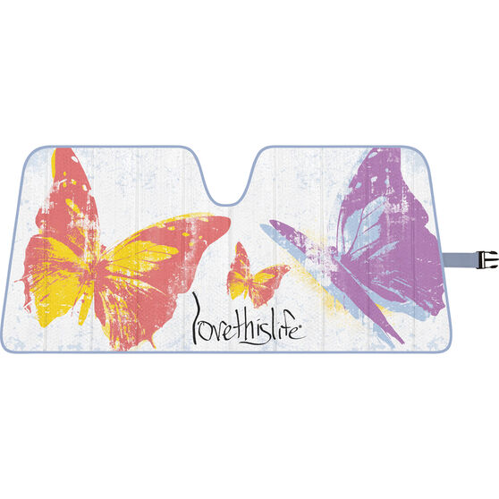Love This Life Butterfly Sunshade - Fashion, Accordion, Front, , scaau_hi-res