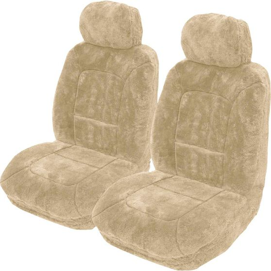 Platinum Cloud Sheepskin Seat Covers - Bamboo Adjustable Headrests Size 30 Front Pair Airbag Compatible Bamboo, Bamboo, scaau_hi-res