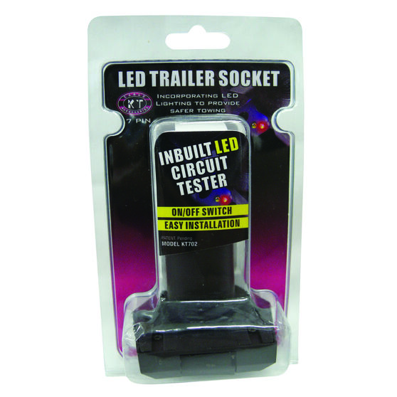 Trailer Socket - 7 Pin Small Round, LED, , scaau_hi-res