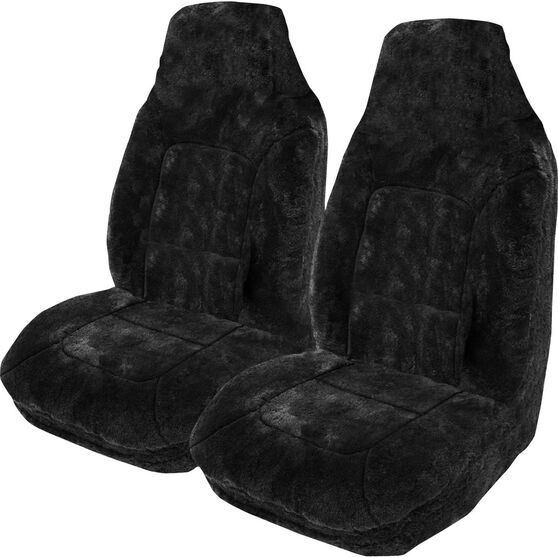 Platinum Cloud Sheepskin Seat Covers - Black, Built-in Headrests, Size 60, Front Pair, Airbag Compatible Black, Black, scaau_hi-res