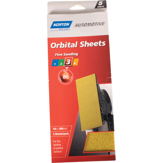 Norton Orbital Sheet - 80 Grit, 5 Pack, , scaau_hi-res
