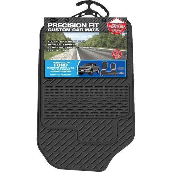 Precision Fit Custom Rubber Floor Mats - Suits Ford Ranger Dual Cab 2011+, Black, Set of 3, , scaau_hi-res