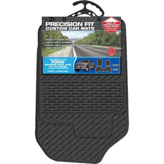 Precision Fit Custom Rubber Floor Mats - Suits Ford Ranger Dual Cab 2011+, Black, Set of 3, , scaau_hi-res