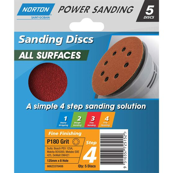 Norton Disc Sander - 180 Grit, 125mm, , scaau_hi-res