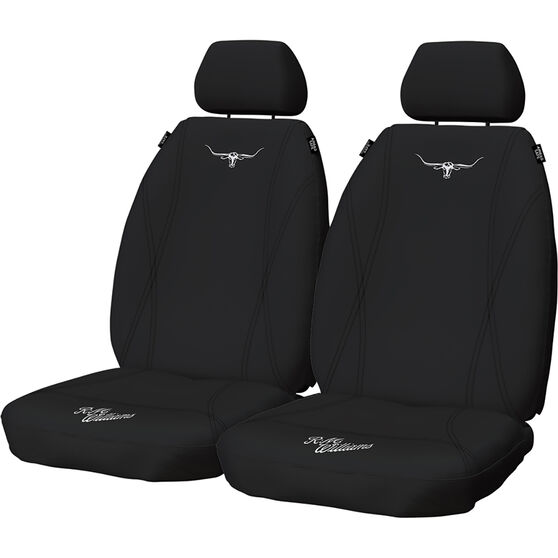 R.M. Williams Neoprene Seat Cover - Black Adjustable Headrests Airbag Compatible, , scaau_hi-res