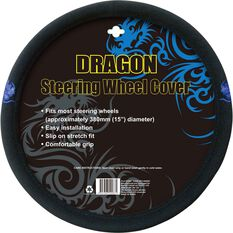 Dragon Steering Wheel Cover - Brushed Polyester, Blue, 380mm diameter, , scaau_hi-res