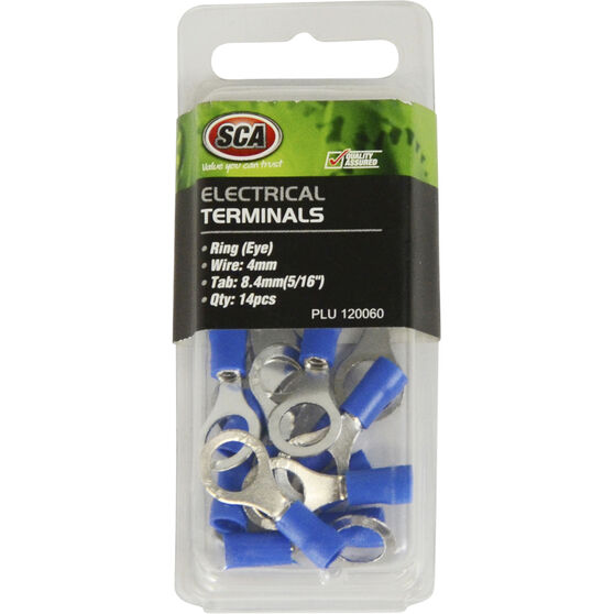 SCA Electrical Terminals - Ring (Eye), Blue, 8.4mm, 14 Pack, , scaau_hi-res