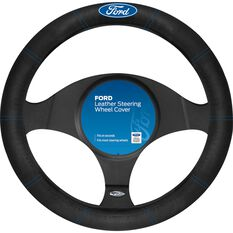 Steering Wheel Cover - Leather, Black,, , scaau_hi-res