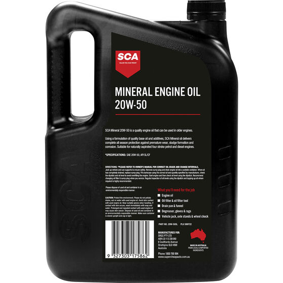 SCA Mineral Engine Oil 20W-50 5 Litre, , scaau_hi-res