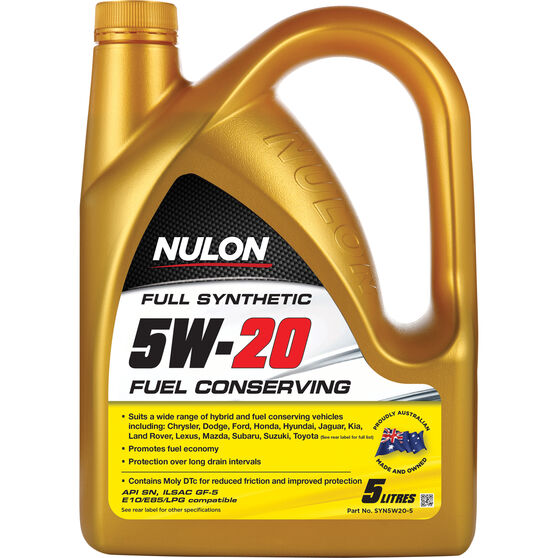 Nulon Fuel Conserving Synthetic Engine Oil - 5W-20 5 Litre, , scaau_hi-res