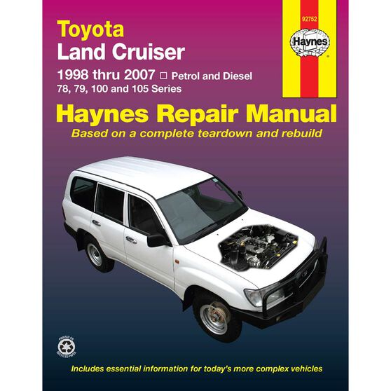 Haynes Car Manual For Toyota Landcruiser Diesel 1998-2004 - 92752, , scaau_hi-res